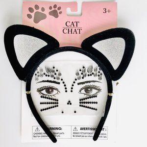 Cat Ears Headband & Face Jewels Costume Set
